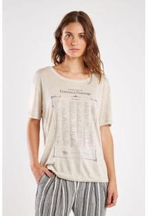 Blusa Sacada Malha Silk Composição Feminina - Feminino-Areia