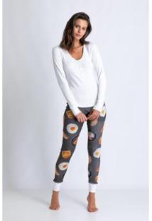 Conjunto De Pijama Acuo Longo De Ribana De Algodão Breakfast Feminino - Feminino-Cinza