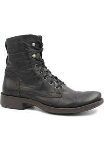 Bota Zariff Shoes Coturno Em Couro Masculina - Masculino-Preto