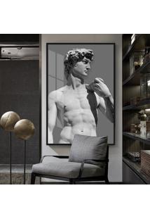 Quadro 150X100Cm Estátua David Michelangelo Vidro Cristal E Moldura Preta Decorativo Interiores - Oppen House