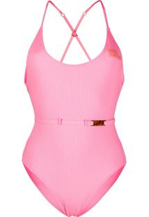 Love Stories Ribbed Logo Swimsuit - Rosa