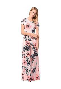 Vestido Longo Estampa De Rosas Com Bolsos - Rosa