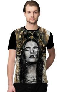 Camiseta Stompy Sad Masculino - Masculino-Preto+Dourado