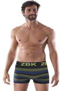 Cueca Boxer Sem Costura Corpo Preto Listra Amarela E Azul