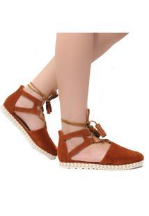 Sandália Rasteira Zariff Shoes Amarraçao Marrom