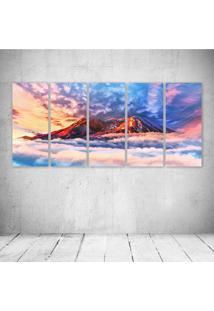 Quadro Decorativo - Illustration Artwork Sky Mountains - Composto De 5 Quadros - Multicolorido - Dafiti