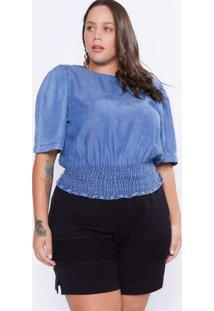 Top Almaria Plus Size Izzat Jeans Lastex Azul