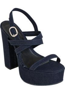 Sandália Jeans Com Salto Quadrado