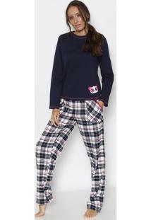 Pijama Em Moletinho Panda- Azul Marinho & Pink- Pukepuket