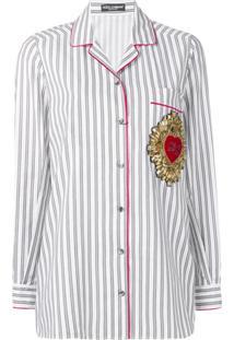 Dolce & Gabbana Blusa Com Detalhe De Broche - Cinza