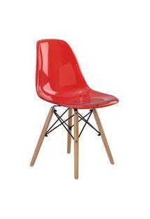 Cadeira Eif.S/Br Pc Vermelho Translucido Base Madeira Rivatti