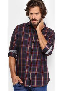 Camisa Xadrez Triton Color Masculina - Masculino-Preto+Vermelho