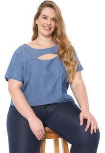 Blusa Jeans Cativa Plus Recortes Azul