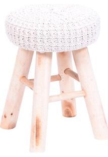Puff Glamour- Branco & Bege Claro- 40Xã˜28Cm- Or Or Design