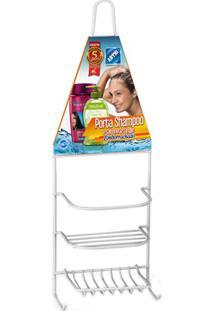 Porta Shampoo E Saboneteira Single Emborrachado Branco