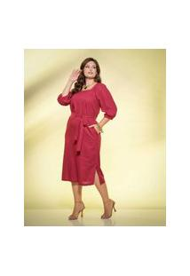 Vestido Almaria Plus Size New Umbi Linho Vinho