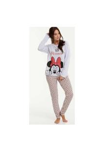 Pijama Feminino Estampa Minnie Manga Longa Disney
