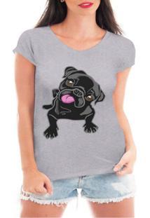 Camiseta Criativa Urbana Pug Love Dog - Feminino-Cinza