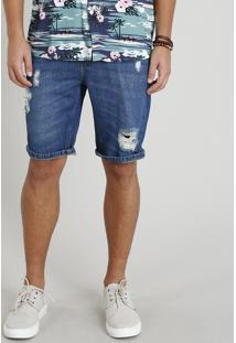 Bermuda Jeans Masculina Reta Destroyed Azul Escuro