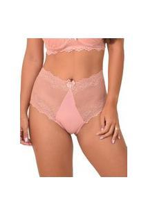 Calcinha Plus Size De Poliamida Com Renda Rosa