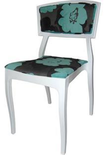 Cadeira Bardo Cor Branca Com Tecido Estampado - 23002 - Sun House