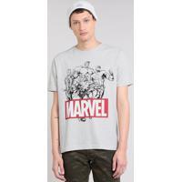 1dcb9b93da Camiseta Masculina Os Vingadores Manga Curta Gola Careca Cinza Mescla Claro