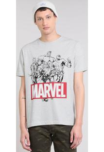 Camiseta Masculina Os Vingadores Manga Curta Gola Careca Cinza Mescla Claro