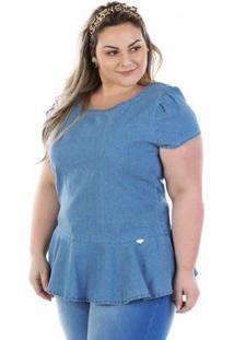 Blusa Confidencial Extra Plus Size Jeans Vinil Peplum - Feminino-Azul
