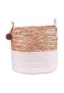 Cesto Para Roupa De Corda Em Seagrass Com Algodão - Yoi