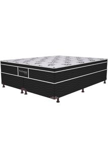 Cama Box Queen Vegas Black – Probel - Preto / Branco
