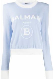 Balmain Jacquard-Logo Shoulder-Pad Jumper - Azul