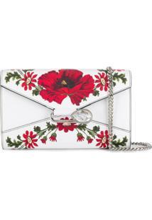 Alexander Mcqueen Bolsa Carteira Com Alça Corrente E Estampa Floral - Branco
