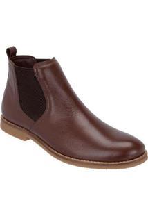 Bota Chelsea Camurça Escrete Boots Fechamento Em Elástico Masculina - Masculino-Marrom