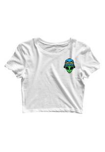Blusa Blusinha Feminina Cropped Tshirt Camiseta Alien Bucket Branco