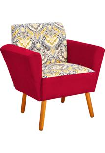 Poltrona Decorativa D'Rossi Dora Estampado D77 Com Suede Vermelho