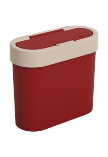 Lixeira Flat 11 X 23,5 X 20,5 Cm 2,8 L Vermelho Bold E Light Gray Coza