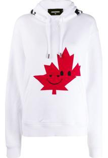 Dsquared2 Blusa De Moletom Canadian Leaf - Branco