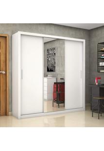 Guarda Roupa Casal 3 Portas Com Espelho Clarice Plus Siena Móveis Branco