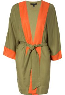 Kimono Rosa Chá Tina Military Green Beachwear Verde Feminino (Capulet Olive, M)