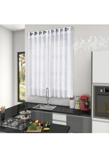 Cortina De Cozinha Rendada Com Forro 2,00M X 1,50M. Branca - Multicolorido - Dafiti