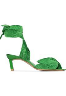 Ganni Sandália Com Amarração De Laço E Salto 65Mm - Verde