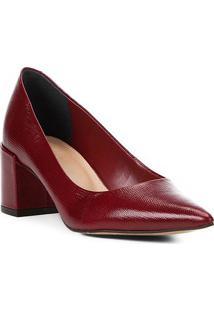 Scarpin Couro Shoestock Salto Médio Lezard
