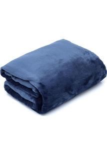 Cobertor Queen Camesa Velour Microfibra Neo Marinho