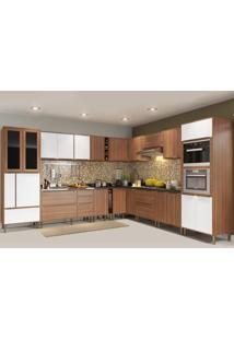 Cozinha Completa Calábria 24 Portas 5 Gavetas Nogueira/Branco - Multimóveis
