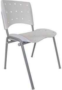 Cadeira Fixa Ergoplax Plástica Base Cinza - Branco