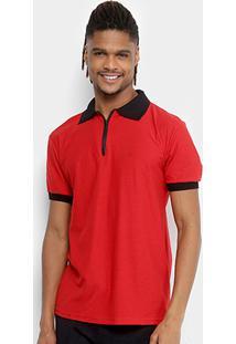 Camisa Polo Tigs Molinê Gola Zíper Masculina - Masculino-Vermelho