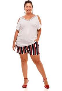 Blusa Melinde Plus Size Decote Rendado Feminina - Feminino-Branco
