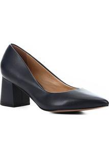 Scarpin Couro Shoestock Salto Bloco Médio - Feminino-Marinho