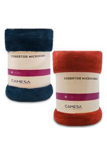 Kit 2 Manta Cobertor Casal Microfibra Soft Macia Fleece 180X220Cm Camesa - Emcompre