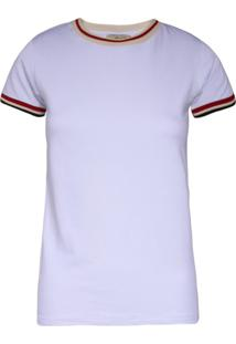Camiseta Khelf Zíper Decote Costas Branco